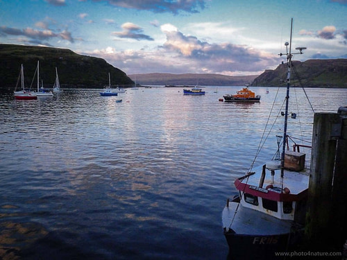 Portree Harbour at sunset